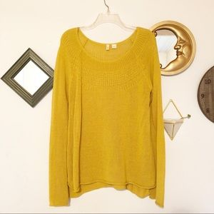 Moth Anthro Mustard Knitted Bell sleeve sweater